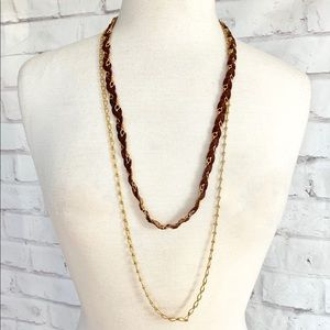Leather & Chain Braided Necklace